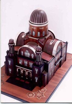 Here is a miniature piece in the form of the Florence synagogue.    *** This item is featured in a volume 500 Judaica published by Lark Books, Sterling
