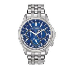 Citizen Eco-Drive Men's Calendrier Chronograph Watch. This Eco-Drive watch is powered by light, and features a 44mm silver tone stainless steel case and bracelet with rotating inner ring. Has a blue d