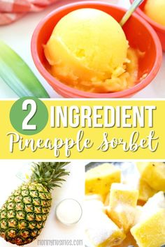 This homemade Pineapple Sorbet recipe only has two ingredients—It's super fresh and perfect for a cool and healthy summertime treat! Pineapple Ice Cream, Sorbet Ice Cream, Fresh Pineapple Recipes, Sherbet Recipes, Pineapple Desserts, Italian Sorbet Recipe, Cream Recipes, Sorbet, Deserts