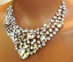 Bridal jewlery Bridal back drop bib necklace by GlamDuchess