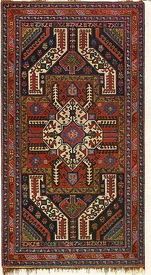 "A Karabakh carpet of Gasimushagy sub-group.   Antique Karabagh ""Kasim Ushag"" rug, 1900s, Elisabethpol Governorate (Елизаветпольская губерния), Zangezur Uyezd."