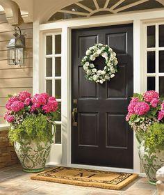Easter front door decorations rose garden wreath and sage garden painted pl Front Door Planters, Front Door Porch, Front Door Entrance, House Front Door, Front Door Decor, Tall Planters, Front Porches, Beautiful Front Doors, Black Front Doors