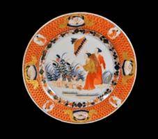 A Chinese Export European-subject Pronk La Dame au Parasol Design Plate, Circa 1745-50.
