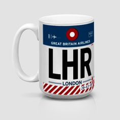 Airport mugs with the IATA log. Each mug shows an IATA code—the three-letter codes that designate airports, worldwide. Here's Heathrow. London Airports, British Things, Heathrow Airport, Travel Themes, Travel Gifts, Travel Luggage, Vintage Travel, Great Britain, Coffee Mugs