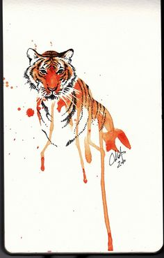 Tiger watercolor tattoo idea