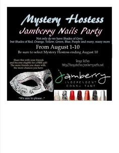 Shop my Jamberry Nails Mystery Hostess party by Saturday and you could win the hostess benefits.  http://tenyatallon.jamberrynails.net