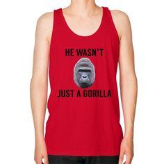 HE WASN'T JUST A GORILLA Unisex Fine Jersey Tank (on man)