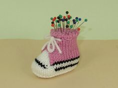 Free knitting pattern for Converse Shoe Pincushion - great stash buster and quick project