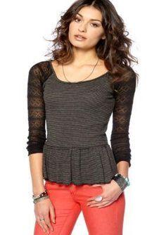 Free People ziggy #peplum #top #blouse thermal $54