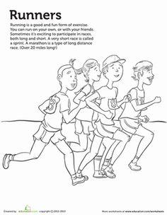 Kindergarten Sports Worksheets: Runner Coloring Page Sports Coloring Pages, Printable Coloring Pages, Summer Programs For Kids, Body Preschool, School Sports, Summer Kids, Happy Kids, Physical Education, Kids Learning