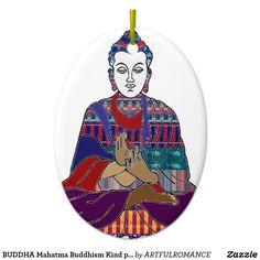 BUDDHA Mahatma Buddhism Kind peace LOVE LIGHT Ceramic Ornament