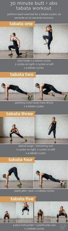 is swimsuit season creeping up on you? have no fear, your butt and abs makeover is here in the form of a 30 minute tabata workout!is swimsuit season creeping up on you? have no fear, your butt and abs makeover is here in the form of a 30 minute tabata Lower Ab Workouts, Tabata Workouts, Easy Workouts, Workout Tips, Workout Quotes, Boxing Workout, Kriya Yoga, Fitness Motivation, Fitness Tips