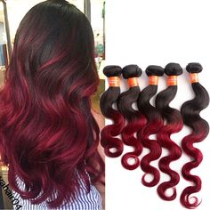 1B/BURG Ombre Real Human Hair Extensions Grade 7A Beauty Hair Wefts Body Wave #WIGISS #HairExtension