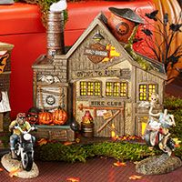 Snow Village Halloween Harley-Davidson Lighted Houses and Accessories by Department 56