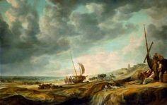 Simon Jacobsz. de Vlieger (ca. 1601-1653). Strandgezicht met vissers. Op de voorgrond liggen de vissen te wachten op kopers, terwijl de vissers uitrusten tegen een pink. In het midden rijdt een koets, getrokken door een vierspan, het strand op. Twee ruiters rijden in de buurt van een pink en in de verte is het silhouet van de kerk te zien.