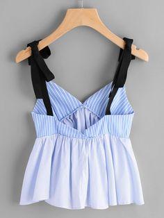 Vertical Striped Bow Tie Detail Peplum Cami Top -SheIn(Sheinside)