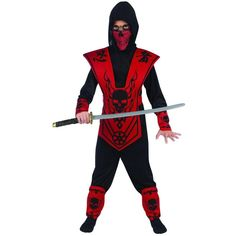 COMPLETE NINJA COSTUME /& WEAPONS Nunchuks Skull Lord Child Boys Halloween NEW