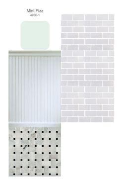upstairs bathroom inspiration board. marble basketweave flooring, beadboard lower half wall, mint upper half wall, subway tiled shower (with black pencil rail around edges, not shown)