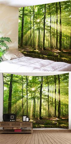 home decor:Forest Sunlight Decorative Wall Tapestry