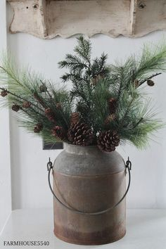 Love this little can of evergreen branches and cones - FARMHOUSE 5540: Farmhouse Christmas Part One