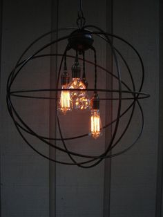 Upcycled Orbital Chandelier with Filament Edison Bulbs