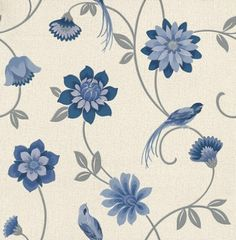 Albany Collage (30781) - Albany Wallpapers - A beautiful floral trail with exotic birds showing in blue and silver on a off white textured background - more colours are available. Please request a sample for true colour match.