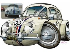 The most famous Volkswagon Beetle of all time, Herbie the love bug from the Disney films and TV series. Vw T1, Volkswagen Bus, Vw Camper, Rat Fink, Weird Cars, Cool Cars, Carros Retro, Vw Classic, Vw Vintage