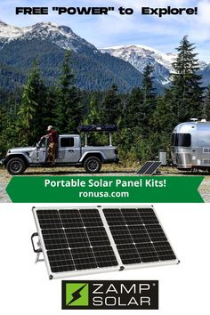 Our portable solar panels allows you to have Free Electricity on you next camping adventure. #camping #solar #solarpanels #electricity #rv