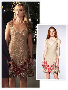 Gossip girl Charlie Rhodes (Kaylee DeFer) in a beige sequined latticework dress from Lorena Sarbu's 2012 resort collection