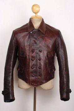 Vtg 1930s WWII HORSEHIDE Leather Cyclist Jacket German French LUFTWAFFE Medium