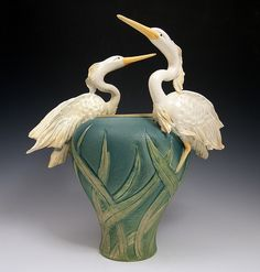 Two Flying Herons Vase- Bonnie Belt Fine Ceramics