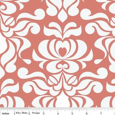 LAMINATED cotton fabric by the yard - Valencia damask coral by Lila Tueller yardage (aka oilcloth, coated vinyl slicker fabric)