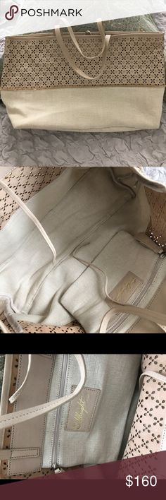 """Anthropologie Linen leather bag Never used. Miss Albright Speciality from Anthropologie. Combination of Linen and butter soft nude leather. Great for summer. Approx: 16.5"""" x 11.5"""" x 5"""". step drop 8"""" Anthropologie Bags Totes"""