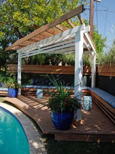This triangular pergola from HGTV's Going Yard provides much-needed shade between laps. >>  http://www.hgtv.com/outdoor-rooms/make-shade-canopies-pergolas-gazebos-and-more/pictures/page-6.html?soc=pinterest