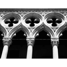 Detail of the Venetian Gothic style of the Doge's Palace in Venice, Italy.