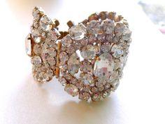 Massive Rhinestone Statement Bracelet Brides by CrimsonVintique, $185.00