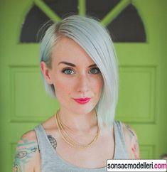 düz asimetrik saç kesimi