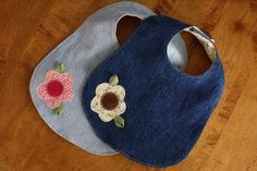 Use denim to make bibs (links to tutorial but I liked these best).