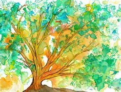 Tree of Life Print (Kabalistic watercolor and ink painting in green and orange)