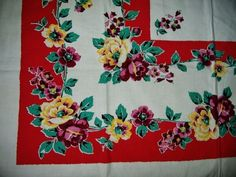 VIVID VINTAGE STARTEX FLORALS TABLECLOTH TAG  VERY BEAUTIFUL!!!!