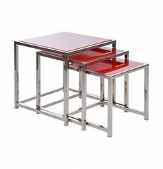 Set 3 #mesas auxiliares color rojo 45x45 cm