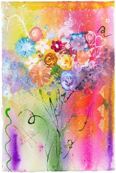 Fine Art Giclee Print from Original Art this is a colorful and happy piece of art.