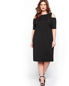 The little black dress is always in style. Here's an option for you: a sexy plus size bodycon dress with cold shoulder cutouts that's perfect for slim and shaped silhouettes. Crew neck, Michel Studio, 42 inch length.
