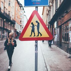 """""""Look up, people!"""" Traffic sign for 2015, made by Jacob Sempler & Emil Tiismann"""
