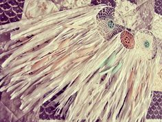 """- Made to order! -   """"Bohemian wall hanging #dreamcatcher in pastel mint, coral and white   Made of cotton stripes, laces, crochet doily and plenty of feahers.    Available ... #handmade #craft #etsy #shopping"""