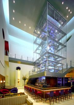 Aureole at Mandalay Bay Las Vegas has this four-story wine tower. How cool is that?