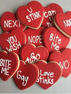 Anti Valentines Day | Conversation Heart Cookies | How To Throw The Ultimate Anti Valentines Day Party! by DIY Ready at http://diyready.com/anti-valentines-day-party-ideas/