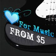Love For Music Sale    Form the garage to packed-house gigs, these guitars, drums, and accessories deliver premium sound quality and a rock and roll attitude at a price that smart for beginners, too. Whether you're an aspiring songwriter, a practicing classical strummer, or an all-out superstar player, these deals make it easy to hone your craft and get the crowds on their feet. Tune things up with great savings and brand-name products for a look and sound that rocks!