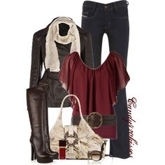 Cute outfit (jeans/top) and much lower heeled boots. ;-)