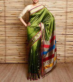 Green Pure Silk Maheshwari Saree